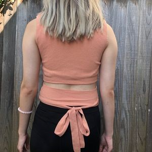 Zara Salmon Knit Top with Cutout Back and Ribbons